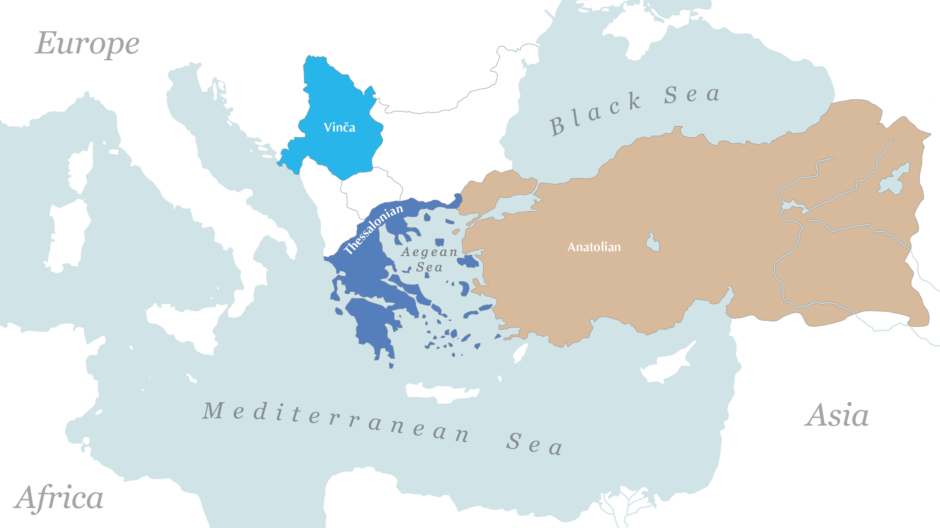 map of the mediterranean region showing vinca in serbia, thessalonia in greece, and anatolia in turkey