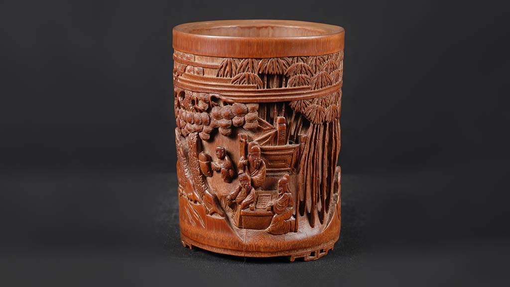 photo of a second carved brush pot
