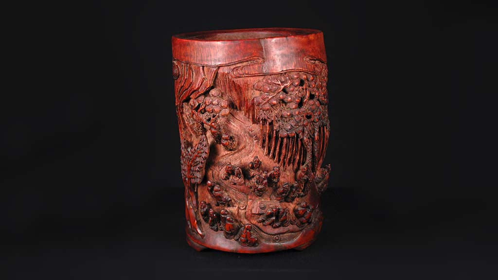 photo of a third carved brush pot