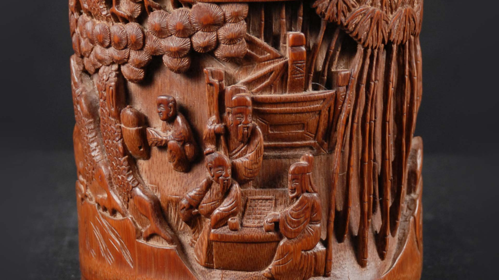 Brush Pot carving close-up
