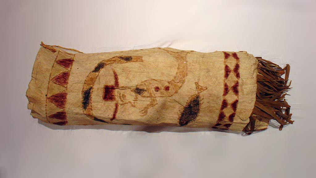 cylindrical bark cloth with fish-man design and fringed bottom