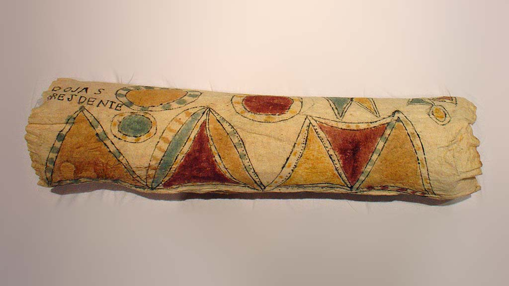 cylindrical bark cloth with multi-colored design