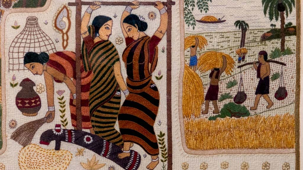 woven artwork of women at work