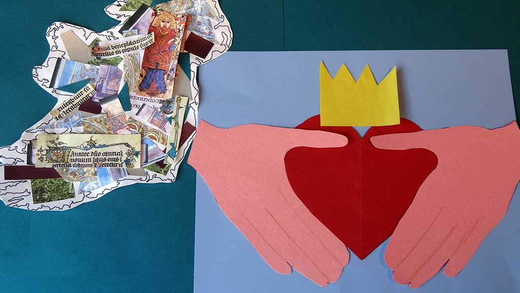 Old Irish paper collage with a collage paper of a paper heart, crown, and two hands.