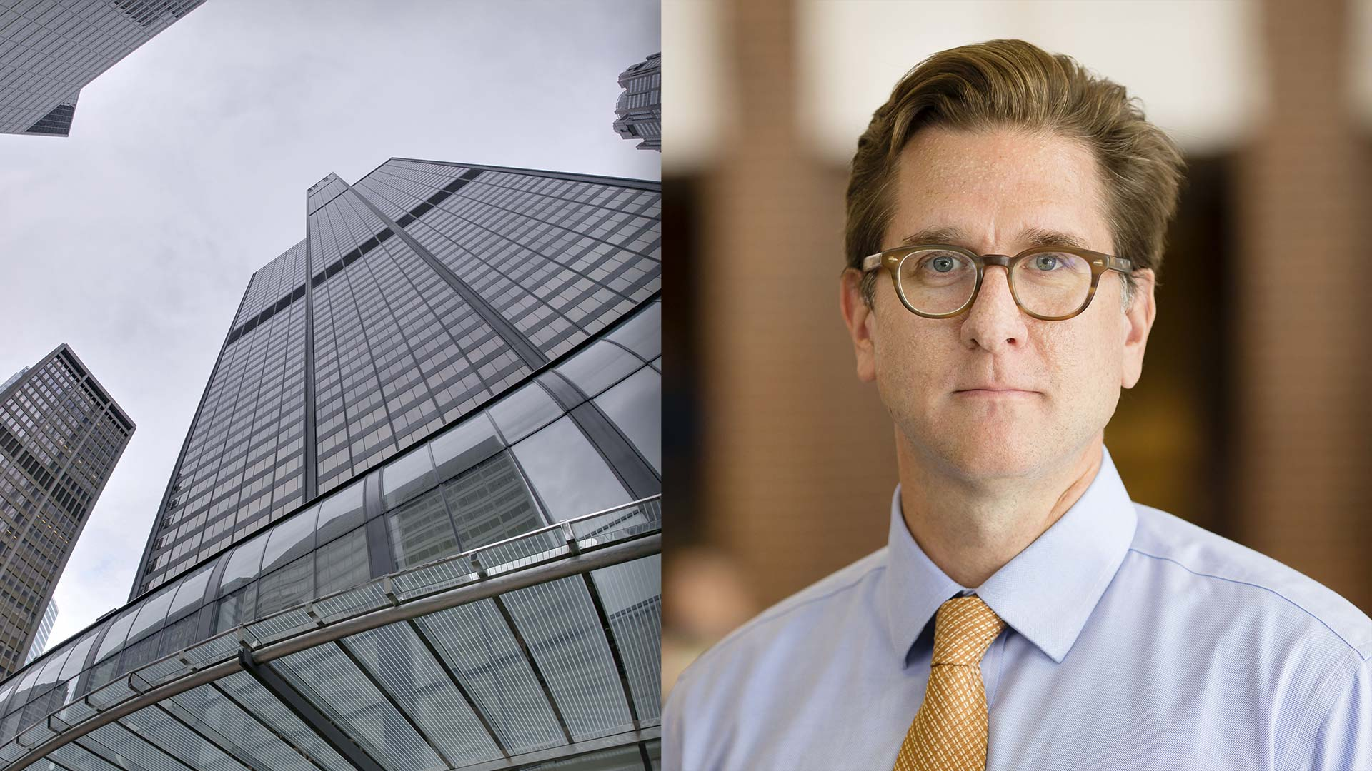 photo of willis tower and headshot photo of speaker travis mcdade