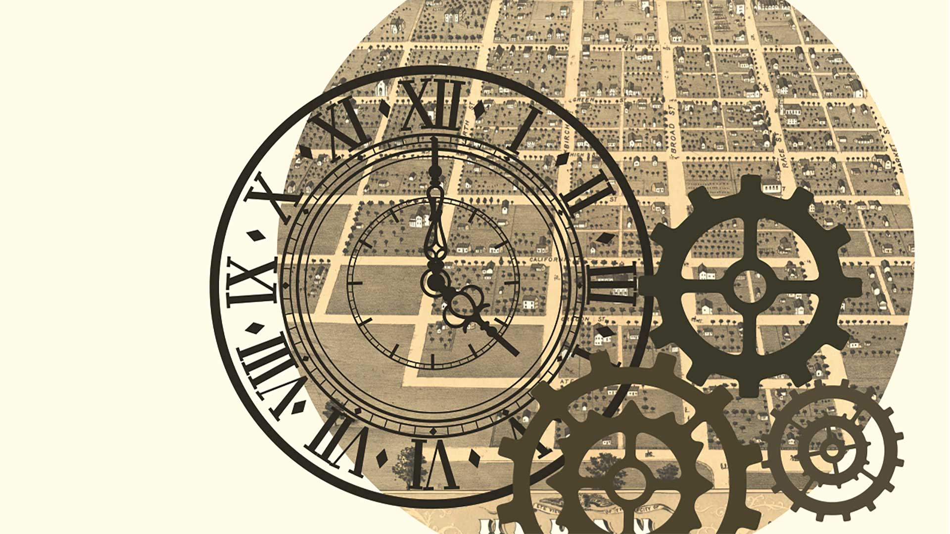 a clock and gear illustration over a historic isometric town map