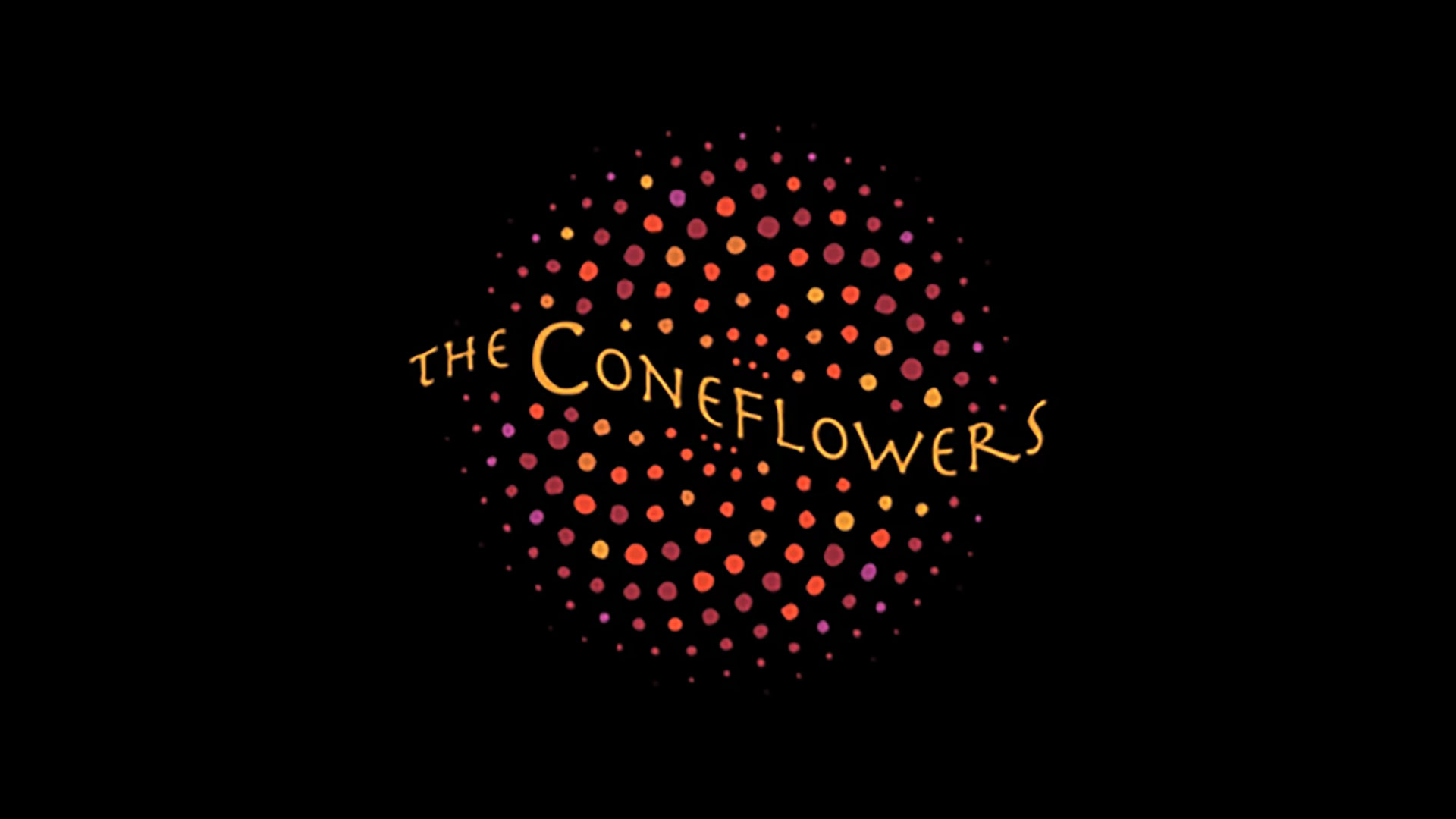 The Coneflowers logo: name on a warmly colored spiral of dots