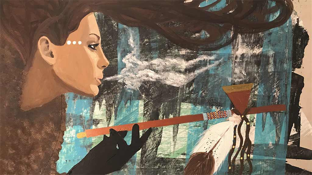 Painting of a woman with long brown hair blowing smoke from a pipe 3/30/2018