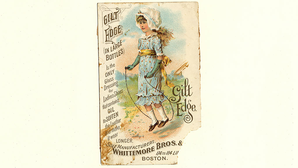 paper advertisement for ladies shoes with a little girl in blue dress from historic times 5/27/2018