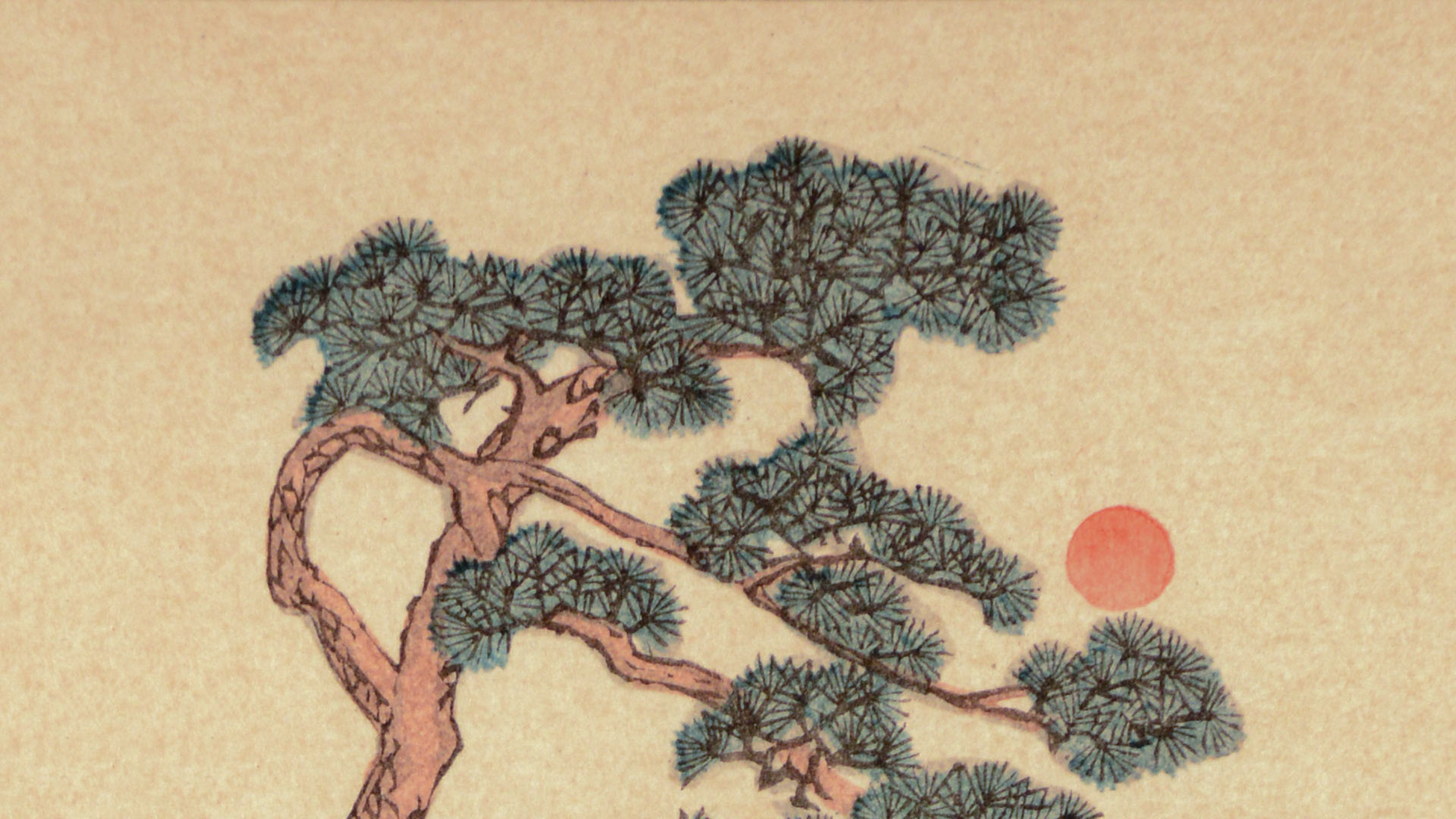 East Asian watercolor painting of a winding tree with an orange sun set against an off-yellow background.