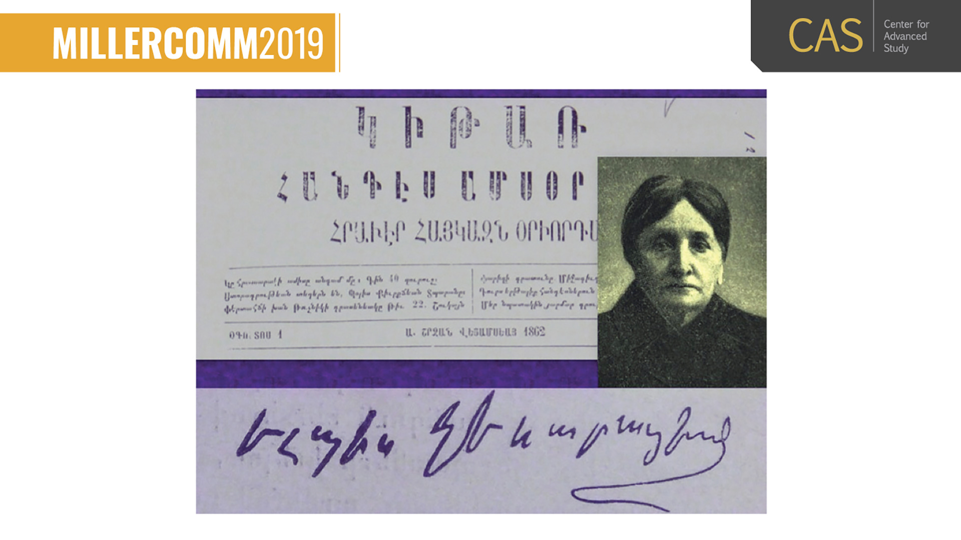 collage of vintage photo of a European woman, a signature, and Armenian script from 1862