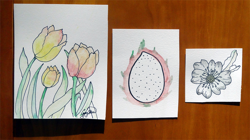 Three simple watercolor paintings on card: tulips, dragonfruit, and a small flower 7/19/2019
