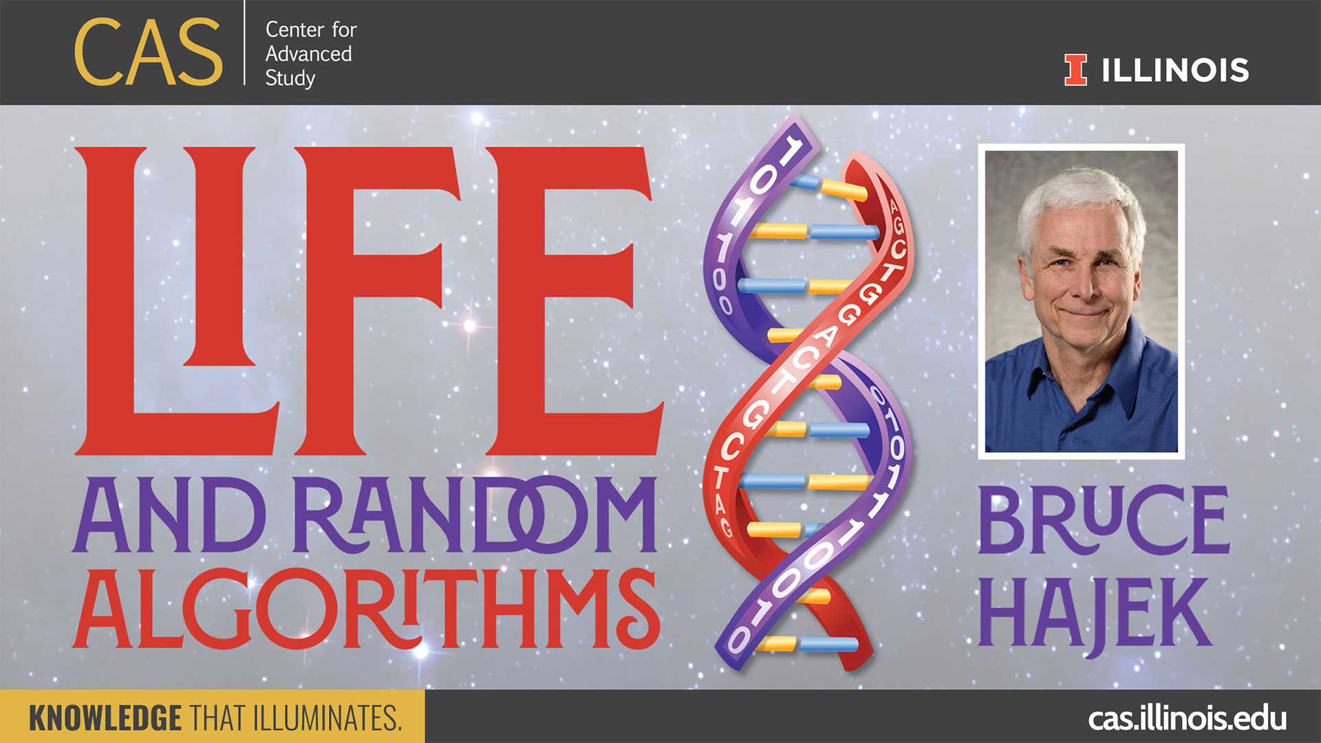 Life and Random Algorithms with DNA illustration and portrait of Bruce Hajek