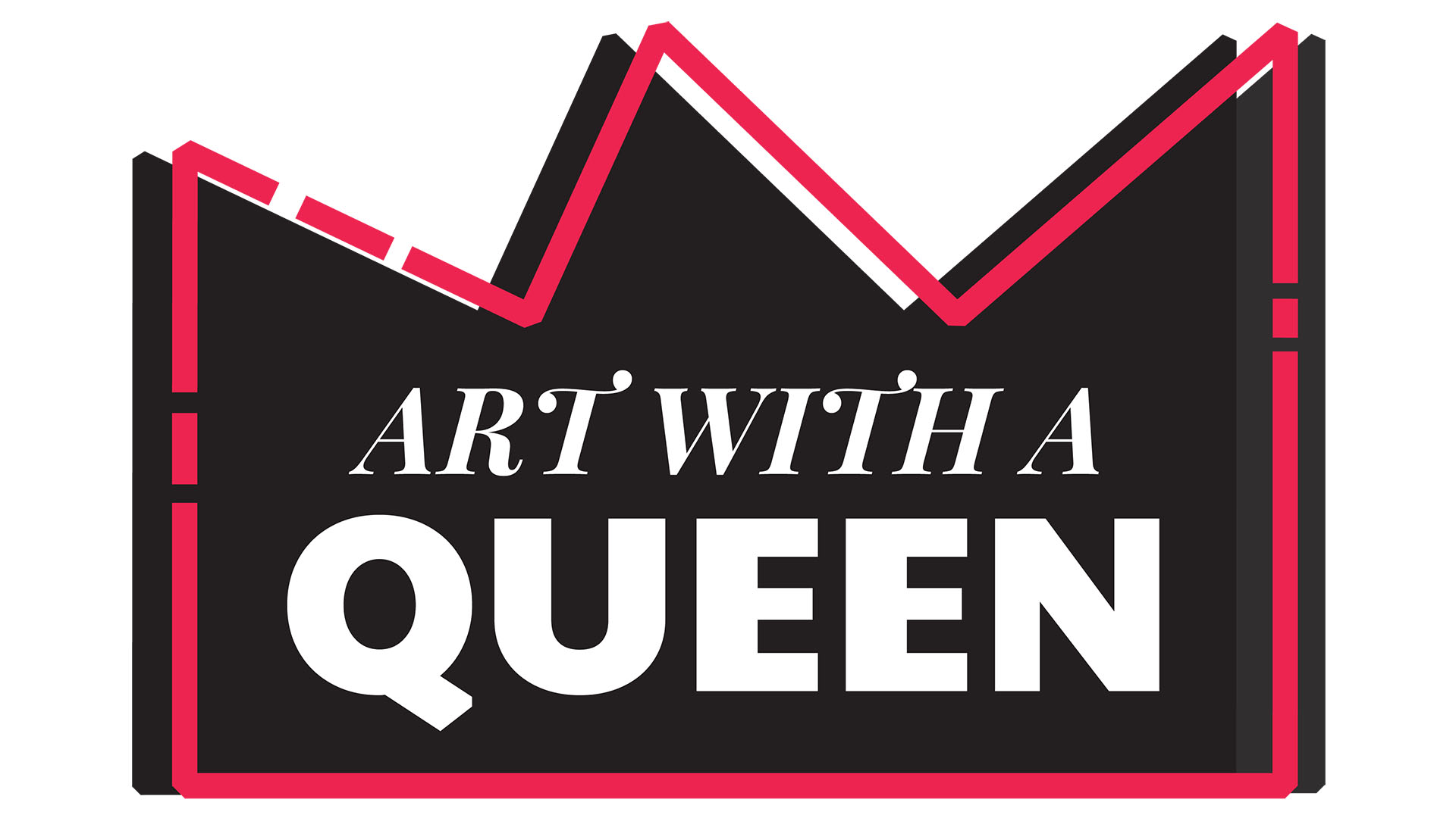 Art with a Queen logo with styled red and black crown