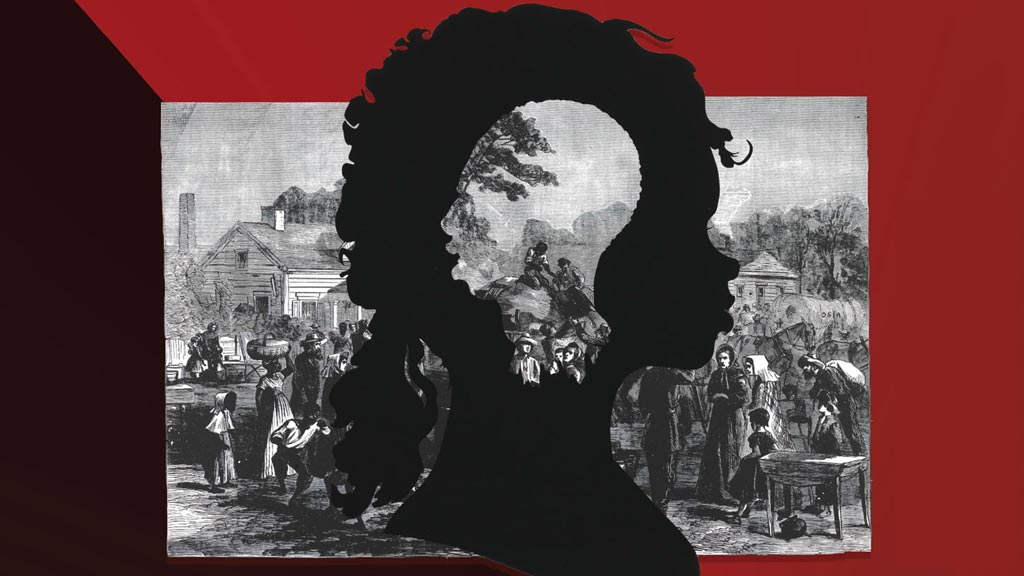 An illustration: slave face cut out of a modern African American silhouette in front of a colonial scene. 2/27/2020