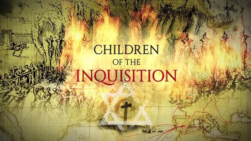 Centered is the text Children of the Inquisition, with old illistrations of the spanish inquisition burning.  A cross and star of david are below text. 3/1/2020