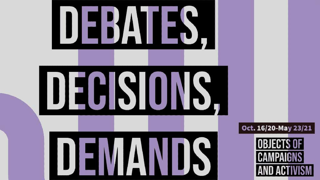 Debates Decisions and Demands logo with purple and white stripes 10/30/2020