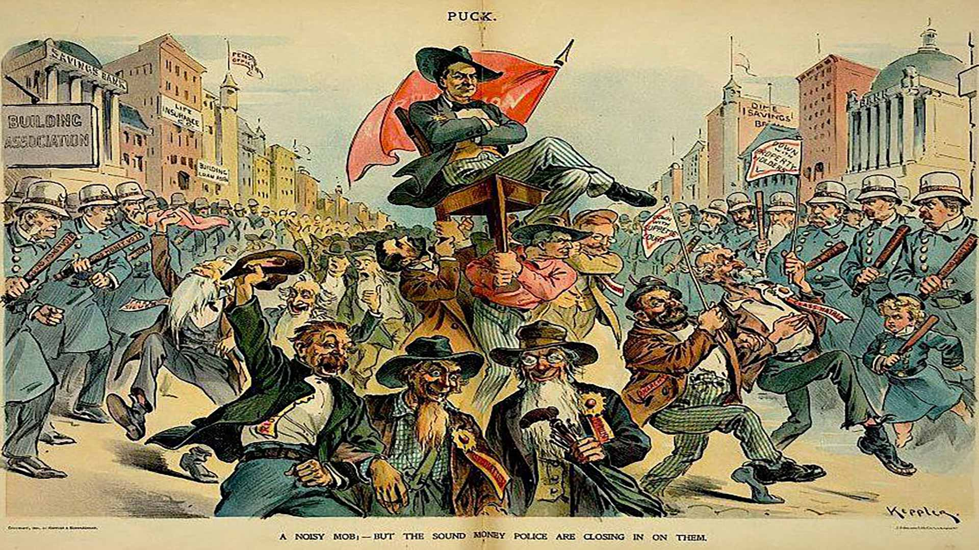 archival political cartoon depicting a crowded street with a man being carried on a chair as police look on menacingly