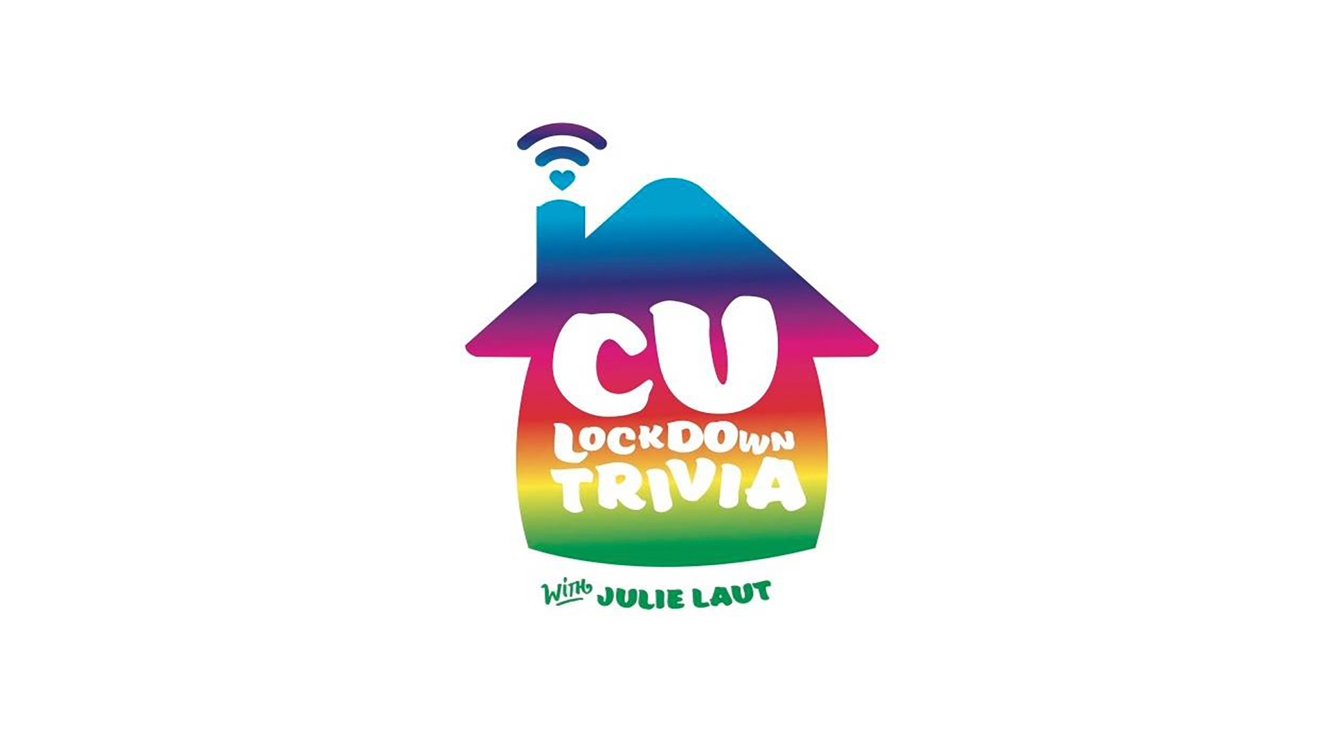 A rainbow colored house with CU lockdown trivia on it