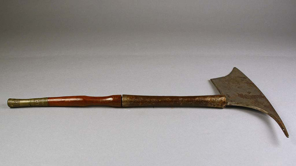 metal axe with wooden handle