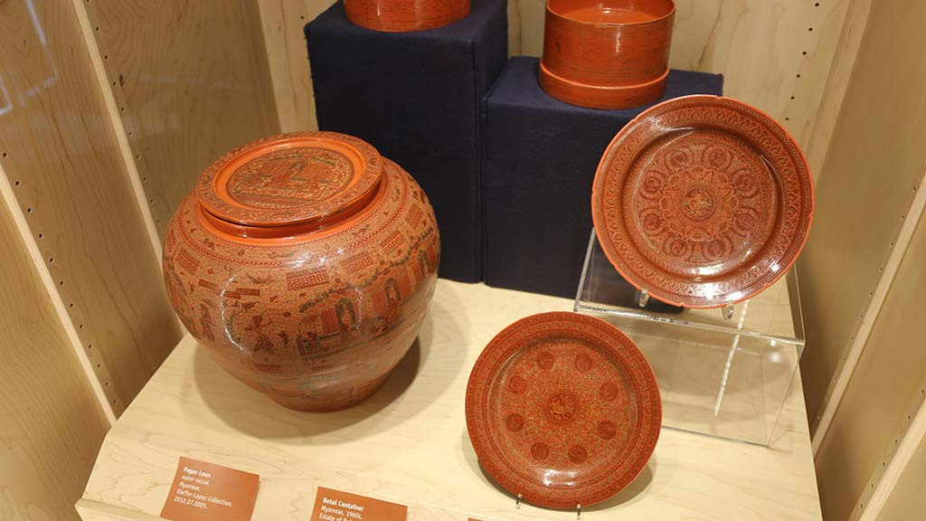 red orange plates and large container
