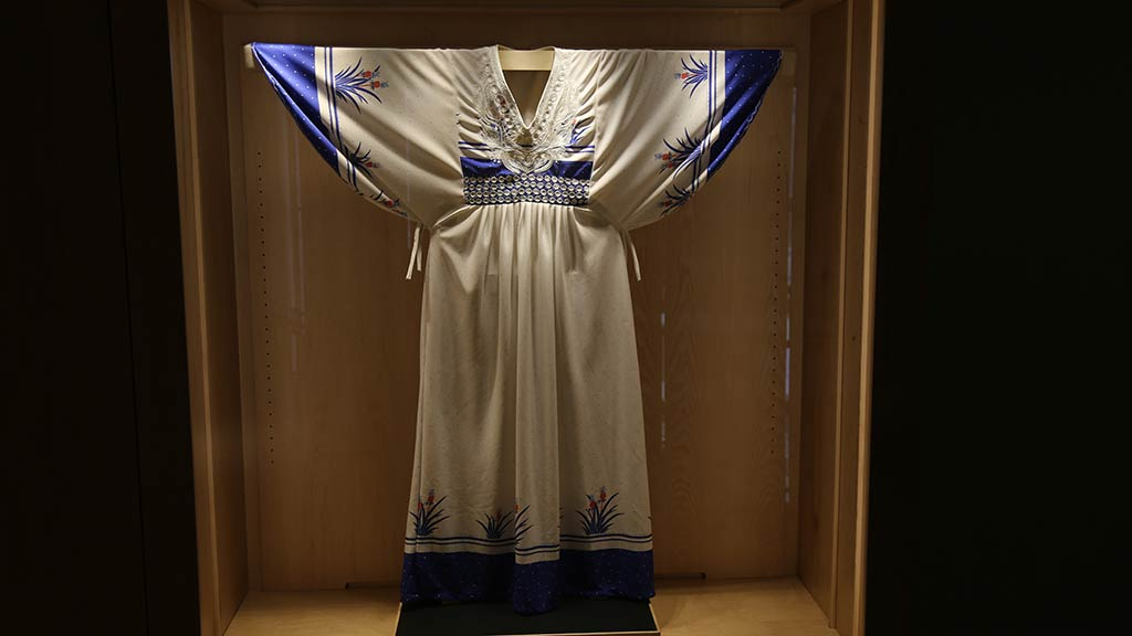 appears to be a white and blue silky dress