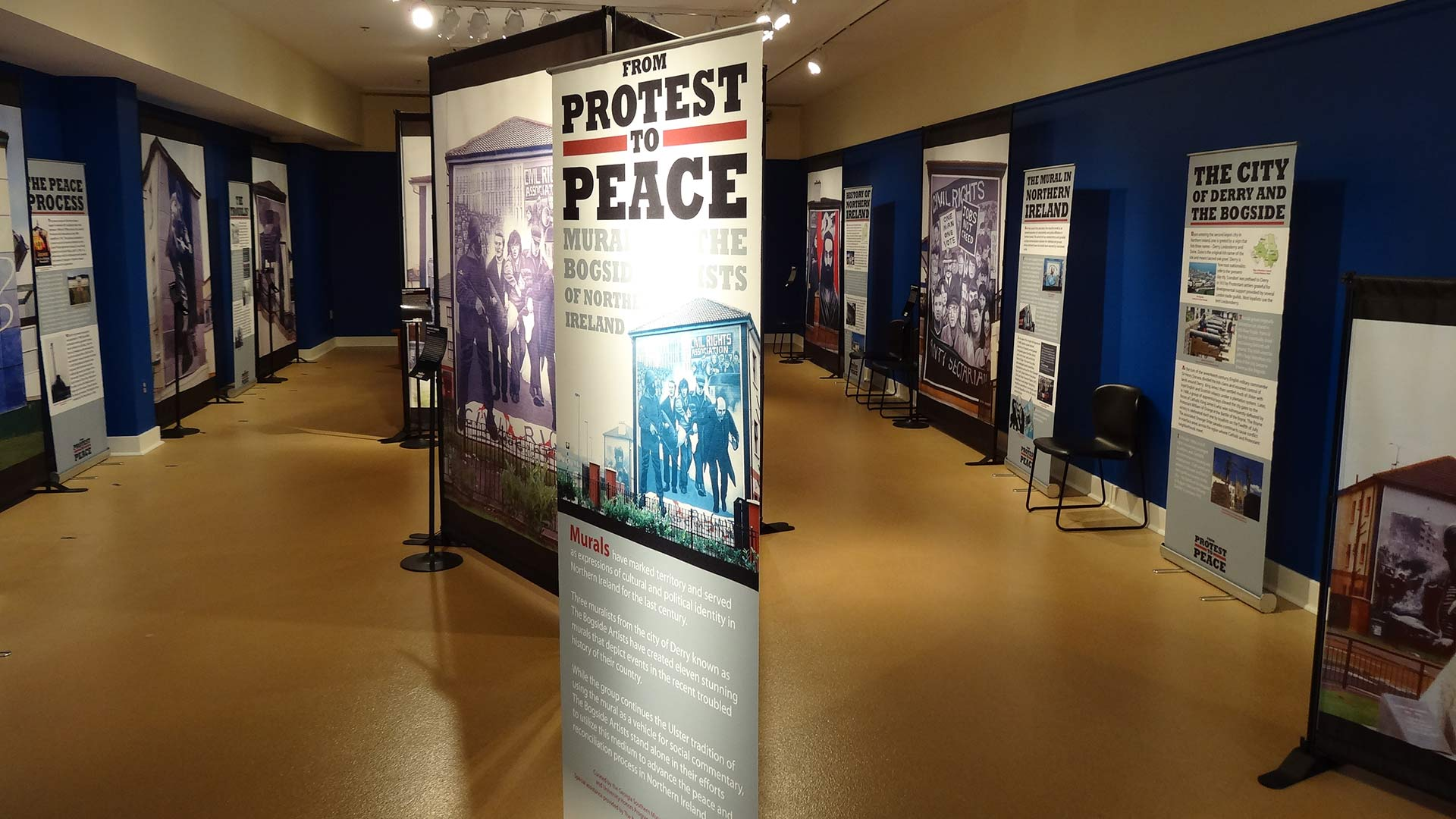 from protest to peace gallery overview, full of stand posters