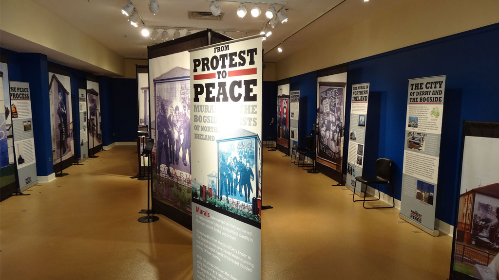 A photo of the From Protest to Peace exhibit