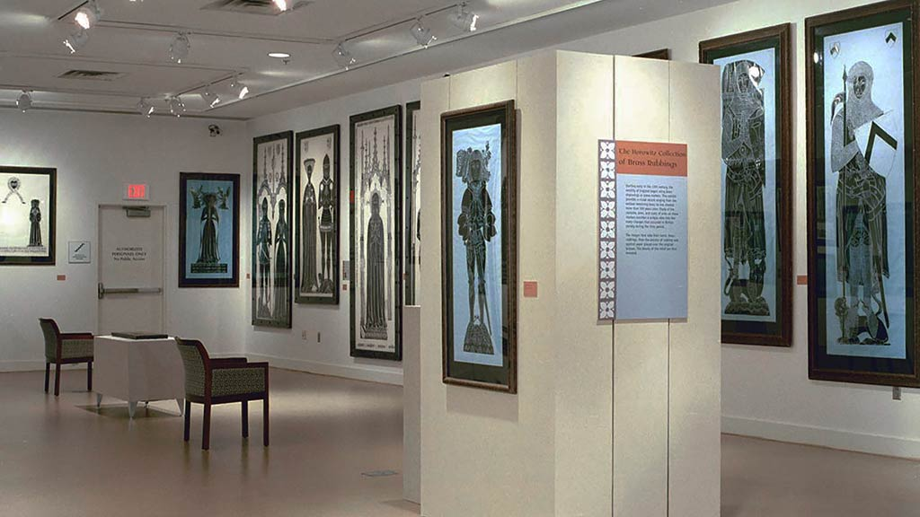 A photo of the Horowitz Collection of Memorial Brass Rubbings exhibit