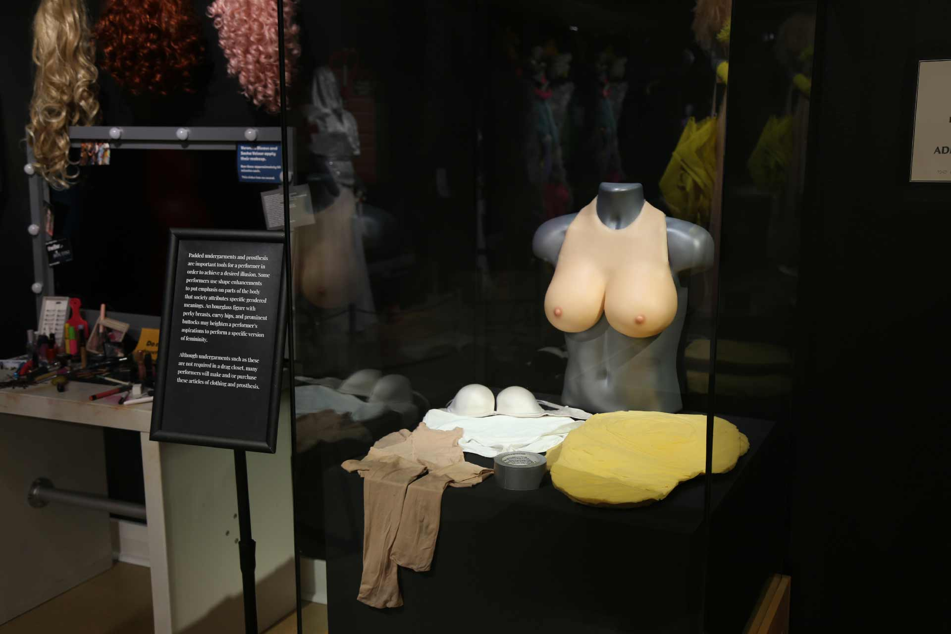 display case with various prosethetic materials and shapewear