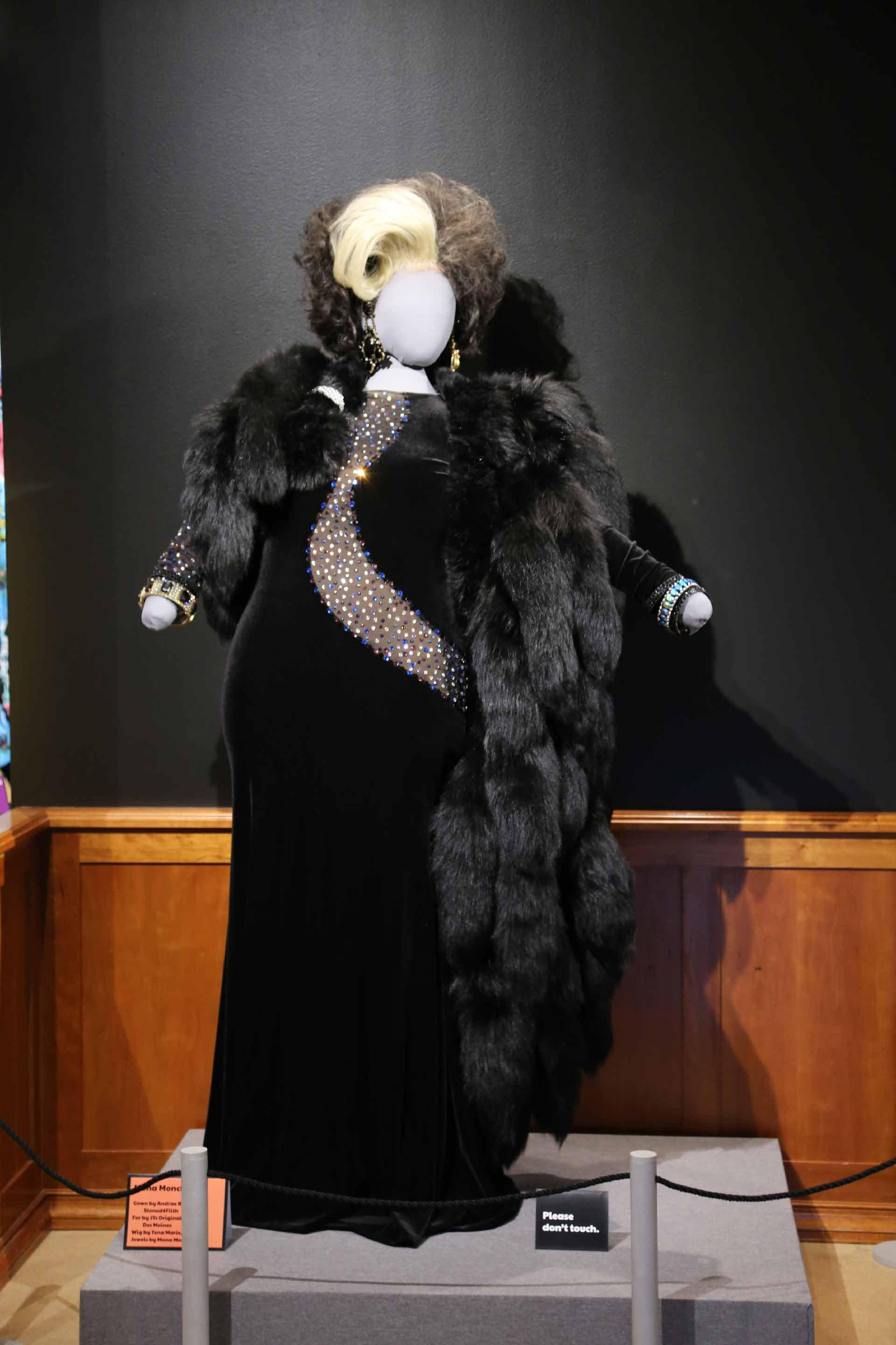 mannequin in black velvet drag queen costume