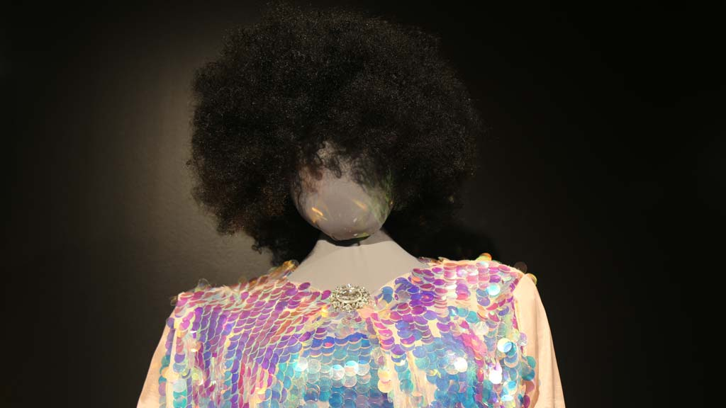 head of mannequin with Afro and top of sequined costume