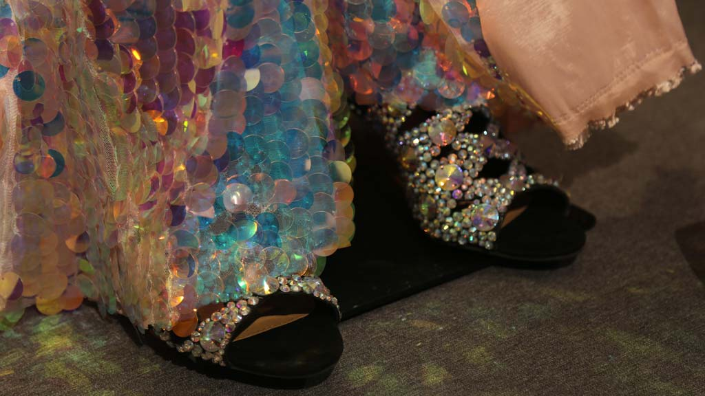closeup of bottom of sequined costume and rhinestone covered shoes