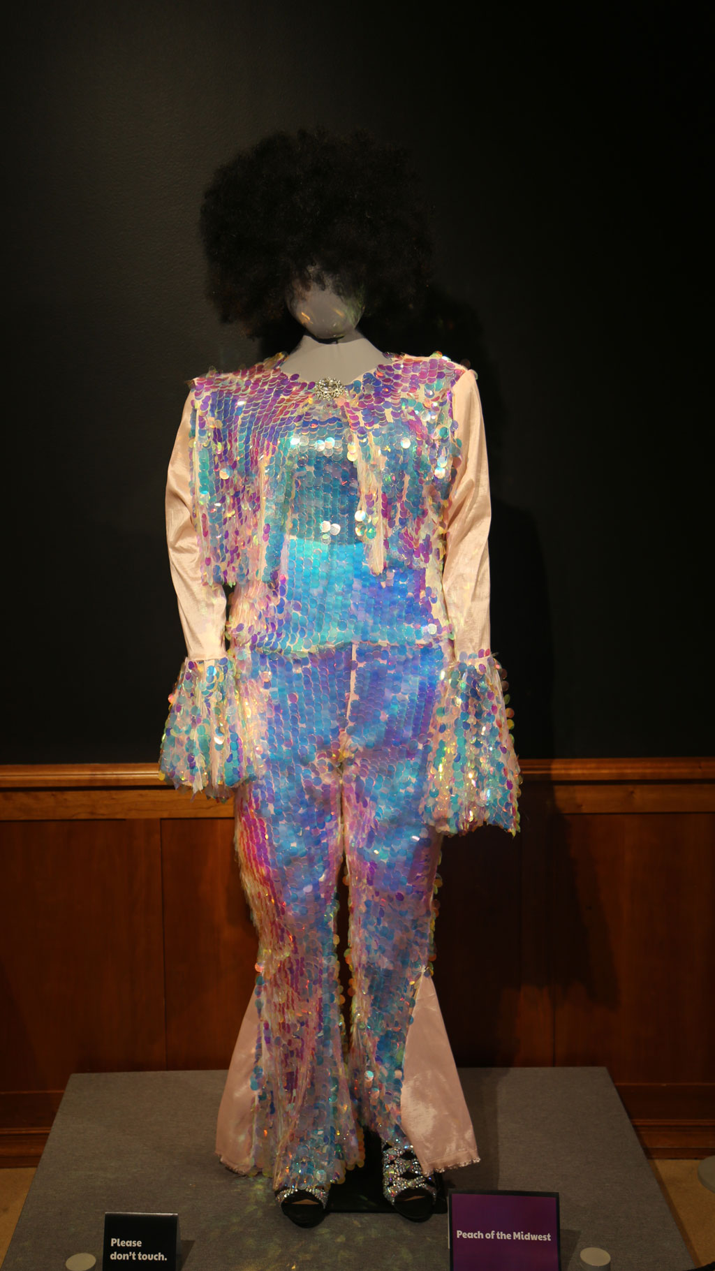 full view of mannequin with a sequined costume and Afro