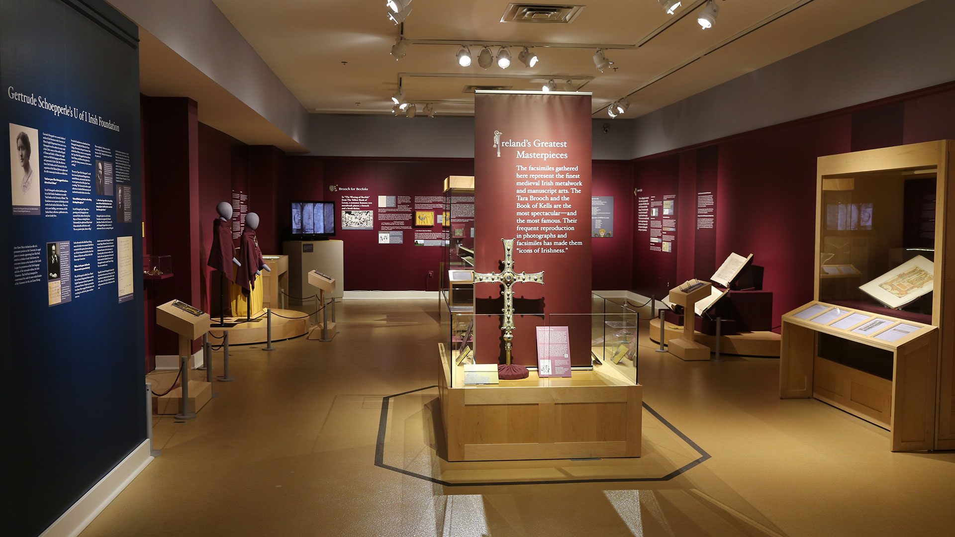 Overall view of Medieval Irish Masterpieces Exhibit