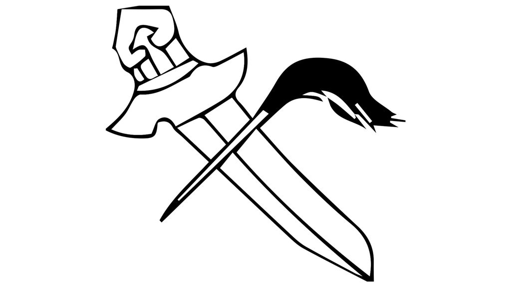 sketch of sword and a fly-brush, which is a thin wooden stick with feathers or animal hair attached on the end