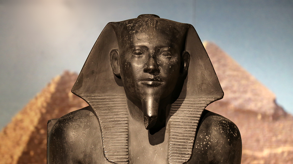 large black-colored pharaoh statue