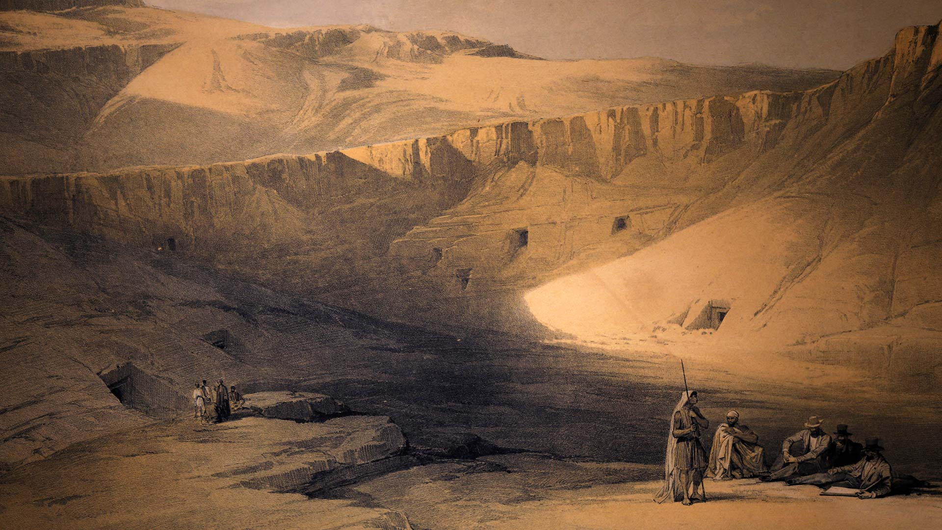painting of the valley of the kings in Egypt