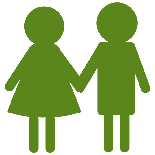 children holding hands pictograph