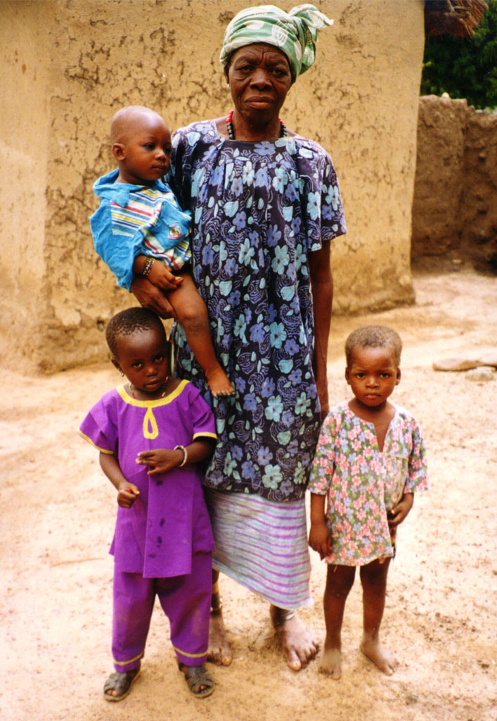 a grandmother with three children