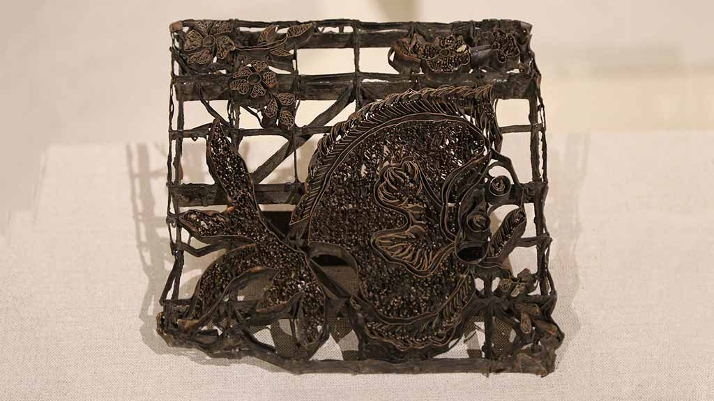 intricately carved wood block for printing