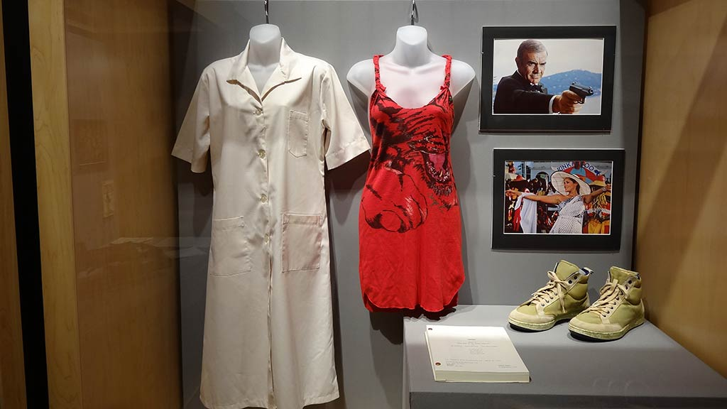 photos, a white sleepshirt, red dress, book, and a pair of light green shoes
