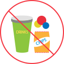 no food drinks or gum pictograph