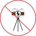 no tripods or flash pictograph